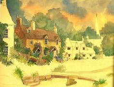 Lesley Holms -  Watercolor of Lower Slaughter