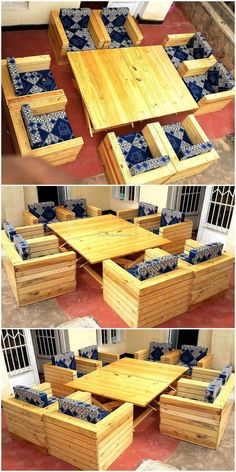 There are homes in which many individuals live, so the seating arrangement in them needs to be according to the number of family members. So, here we are going to show an idea created with wood pallets, which is for a big family and this idea is for outdoor to create an environment to enjoy the weather on a fine day. The sofa set is simple in looks, but is adorable and the fabric used for covering the foam contains an awesome color combination. See the reclaimed wood pallet outdoor sofa…
