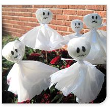 Plastic bag ghosts..might be worth trying if you have a stash of those grocery store bags lying around, then you can toss in recycling!