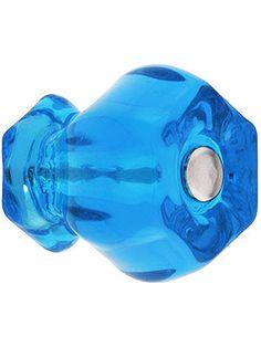 Medium Hexagonal Glass Cabinet Knob With Nickel Bolt | House of Antique Hardware