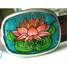 tattoo lily belt buckle    Original artwork of a lotus inspired by a Japanese tattoo design.