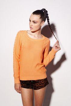 Pastel Cable Knit - Orange, $69.95