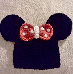 Minnie Mouse inspired hat with removable bow by megscutekidshop, $20.00