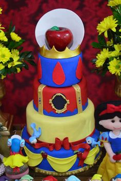 Beautiful cake at a Snow White birthday party! See more party ideas at CatchMyParty.com!