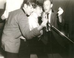 "Gene Vincent, center, with ""clapper boys"" Tommy ""Bubba"" Facenda, left, and Paul Peek at Matter's Ballroom, Decorah, Iowa, August 9, 1957.  Courtesy John Matter. racewiththedevil.net"