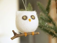 Owl Christmas Ornament Needle Felted Wool Woodland by Fairyfolk, $18.00