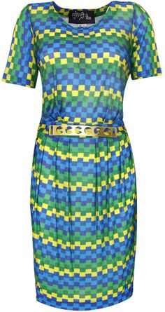 Lego printed shift dress by SURENDRI BY YOGESH CHAUDHARY. Shop at http://www.perniaspopupshop.com/whats-new/surendri-by-yogesh-chaudhary-5952