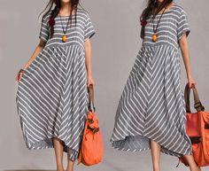 Etuikleider - Frauen Striped Splicing Maxi Kleid L XL - ein Designerstück von MissJuan bei DaWanda