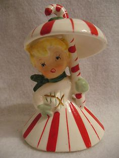 Vintage Napco Christmas Candy Cane Umbrella Girl Bell 1960 | eBay