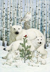 White Animals Red Bird Art Print by Lynn Bywaters. All prints are professionally printed, packaged, and shipped within 3 - 4 business days. Christmas Animals, Christmas Pictures, Christmas Art, Winter Christmas, Vintage Christmas, Illustration Noel, Christmas Illustration, Christmas Greeting Cards, Christmas Greetings