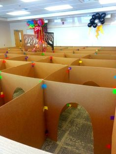 Giant Cardboard secret agent obstacle