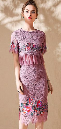 Chic O-Neck Lace Embroidery Two Piece Slim Dress