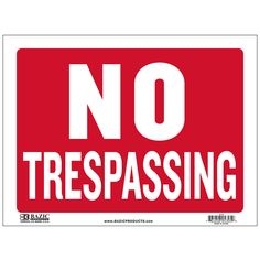 """States """"No Trespassing"""" in white and has a red backing Durable plastic, weatherproof Bright and highly visible 9 inch x 12 inch no trespassing sign"""