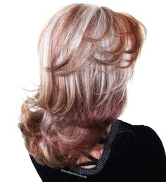 Burgundy Hair With Silver Balayage Red Highlights Gray