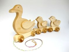 3 Ducks in a Row Natural Maple Pull Toy - Etsy #baby #etsy #nursery