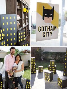 A Batman Birthday Party with DIY Gotham City skyline, capes, black + yellow desserts, Batman piñata, custom-made invitations bubbles, masks + other favors