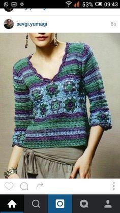 Crochet pullover — Crochet by Yana Débardeurs Au Crochet, Moda Crochet, Pull Crochet, Crochet Patron, Crochet Woman, Crochet Granny, Crochet Diagram, Crochet Squares, Free Crochet