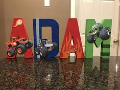 Blaze and the Monster Machines Custom Name Letters - price is per letter Blaze And The Monster Machines Cake, Blaze The Monster Machine, Monster Truck Birthday, Monster Party, Monster Trucks, 4th Birthday Parties, Birthday Diy, Birthday Stuff, Blaze Birthday Cake
