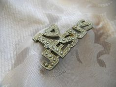 Vintage Large Bumpy I love Jesus Pin or Brooch Brass Color | RosesHeirlooms - Jewelry on ArtFire