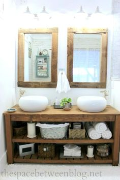 For restroom mirrors! Use an old post to make beautiful reclaimed wood frames, perfect for this rustic modern master bathroom Decor, Diy Bathroom, Reclaimed Wood Frames, Laundry In Bathroom, Home Remodeling, Rustic Bathroom Vanities, Rustic Bathroom, Rustic Master Bathroom, Bathroom Inspiration