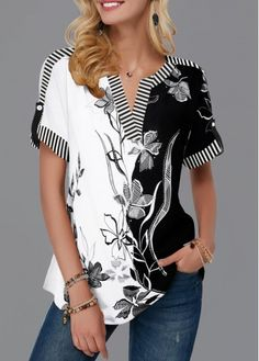 Split Neck Roll Tab Sleeve Flower Print Blouse | modlily.com - USD $28.35