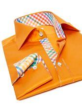 Chemise homme Tutty-Frutty orange doublure à carreaux
