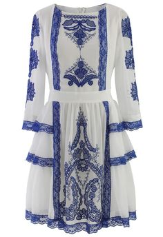 $70 White Tribal Embroidered Mid-Sleeve Chiffon Dress in Blue