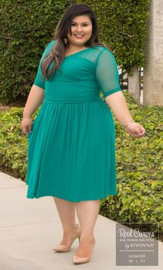 "Real Curve Cutie and Marketing Associate Jasmine (5'3"" and a size 0x) looks RSVP-ready in our plus size Modern Mesh Dress.  www.kiyonna.com  #KiyonnaPlusYou  #MadeintheUSA  #Cocktail  #SemiFormal  #WeddingAttire"