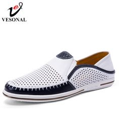 VESONAL Summer Hollow Out Breathable Genuine Leather Casual Male Shoes For Men Adult Loafers Slip On Sneakers Driving Moccasins Gents Shoes, Shoes Men, Male Shoes, Design Nike Shoes, Zapatillas Nike Air, Fashion Shoes, Mens Fashion, Knit Shoes, Driving Moccasins