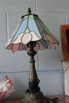 Small Lamp Shade using a lovely and tranquil color combination, although the vase cap is a really awkward fit.