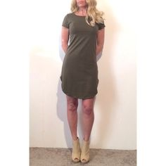 Olive Green Short Sleeve Casual T-shirt Dress Round neckShort sleevesFitted through the torso with a slight flare hemMini lengthSplit hemRuns true to sizeAvailable in olive or red/orangeS-M-L Cotton/rayon/spandexImported.   NO Trade/Hold/PayPal YES Bundles Create your own no hassle bundle 20% off 2+ items COMMENT WITH YOUR SIZE Boutique Dresses Mini
