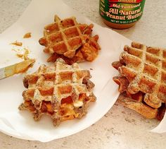"""Making a pretty classic Hong Kong street food for breakfast this morning! There's peanut butter and condensed milk..melted butter sugar and buckwheat waffles...in the words of #BarefootContessa """"What could be bad about that??"""" #indulgent #breakfast #hongkong #streetfood #waffles #buckwheat #peanutbutter #condensedmilk #yummy #goodness #instafoodie #instafoodie #delicious #sunday #morning #goodmorning #eastmeetskitchen"""