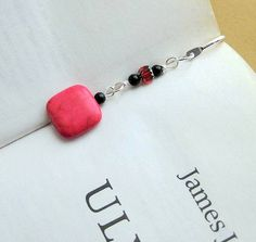 Cute Bookmark Hook Beaded with Candy Red Stone by HandmadebyAmor, €10.00