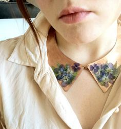 Copper Collar Necklace with Blue Dried Flowers and Fern
