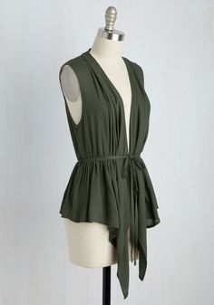 Don the Road Vest in Olive. During your cross-country trip this olive green vest couldnt be beat. #green #modcloth