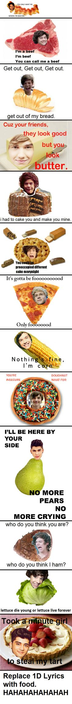 Replace 1D lyrics with food