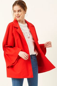 Natalie Shirred Sleeve Jacket Discover the latest fashion trends online at storets.com #jackets #outerwears #outwears #shirredsleevejackets beltedjackets #fashion #ootd #storetsonme