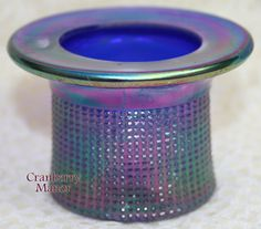 Imperial Blue Carnival Glass Toothpick Holder