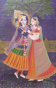 Krishna Admiring Radhas Beauty (Miniature Painting on Canvas - Unframed))