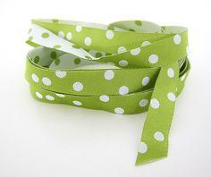 Webband Borte Applikation Polka Dots Punkte Tupfen grün hellgrün Farbenmix