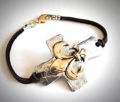 Chunky Sideways Cross & Fleur de Lis on leather by JewelryByMaeBee on Etsy.
