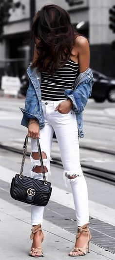 casual style perfection / denim jacket + stripped top + white rips + bag + heels