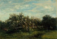 """Blossoming orchards were a favorite subject of the painter Charles François Daubigny, whose """"Apple Blossoms"""" was completed in 1873."""