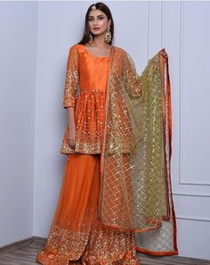 Orange sharara suit set in mirror and zari embroidery only on Kalki Pakistani Party Wear Dresses, Shadi Dresses, Pakistani Wedding Outfits, Designer Party Wear Dresses, Indian Gowns Dresses, Pakistani Dress Design, Indian Designer Outfits, Indian Outfits, Indian Clothes