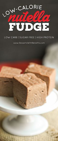 This Healthy Nutella Fudge is so soft, sweet, and delicious, you'd never know it's sugar free and high protein! Can you guess the secret ingredient? Healthy Candy, Healthy Protein Snacks, Low Calorie Snacks, Healthy Dessert Recipes, Healthy Fats, High Protein, Diabetic Snacks, Healthy Sweets, Nutella Fudge