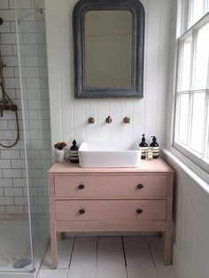 Pink wall vanity unit in bathroom. Try our Rose Garden chalk paint to achieve this look (scheduled via http://www.tailwindapp.com?utm_source=pinterest&utm_medium=twpin&utm_content=post178790477&utm_campaign=scheduler_attribution)
