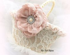Flower Girl Basket Ivory Cream Gold Champagne Tan by SolBijou