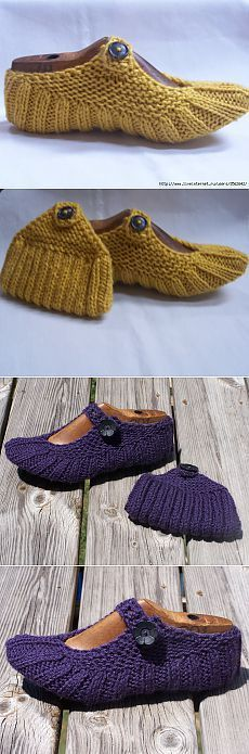 """""""Knit Easiest House Slippers from Square Free Knitting Pattern"""", """"Crochet and or Knit slippers."""", """" Display crocheted slippers like this. Knitting Socks, Free Knitting, Baby Knitting, Knitted Slippers, Crochet Slippers, Laine Chunky, Crochet Stitches, Knit Crochet, Chunky Crochet"""