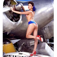 hollyrandall78:  One of my favorite shoots of all time… Rene Perez shot in an airplane graveyard in the Mojave desert #pinup #model #airplane #America #mojavedesert
