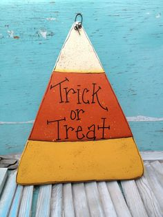 Wooden Trick or Treat Candy Corn Sign Halloween Door Hanger Fall Home Decor Sign on Etsy, $12.00
